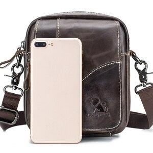 Image 3 - Sac à bandoulière en cuir véritable masculin, mini sac à bandoulière vintage masculin, sac à rabat, sac à bandoulière naturel
