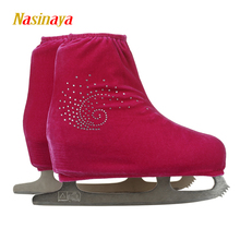 24 Colors Child Adult Velvet Ice Figure Skating Shoes Cover Fabric Roller Skate Cover Accessories Athletic Red Conch Rhinestone