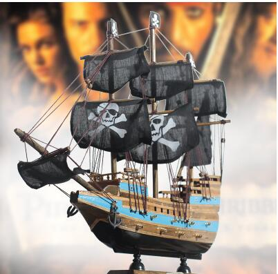 Pirates Caribbean sailing ship in victory Black Pearl model decoration crafts wood quality manual bar statue Retro decoration