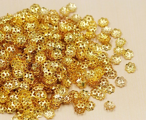 H393-2pcs-Rhodium Plated-6mm Bead Cap-For Half Drilled Beads Bead Cap
