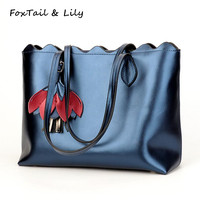 FoxTail & Lily Luxury Brand Real Leather Tote Bag Large Capacity Ladies Shoulder Bag Summer New Fashion Handbags Genuine Leather