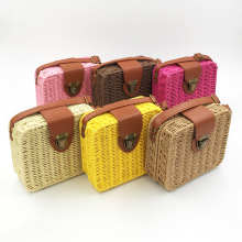 Straw Bag Hand-woven Candy Color Women Square Woven Bag Ladies Shoulder Bag Bohemia Beach Bag Crossbody Bags Travel Handbag Tote trendy zippers and candy color design women s tote bag