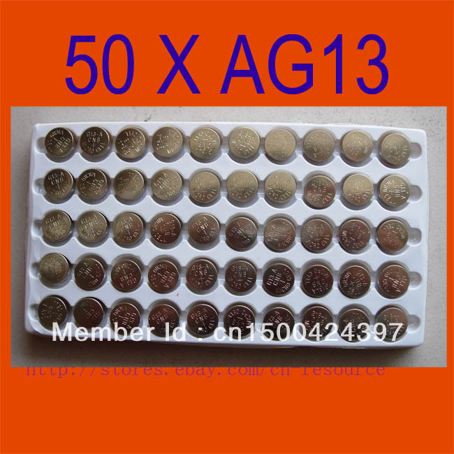 50PCS AG13 Button Cell Batteries <font><b>AG</b></font> <font><b>13</b></font> G13 <font><b>LR44</b></font> A76 N ship by air mail with track number image