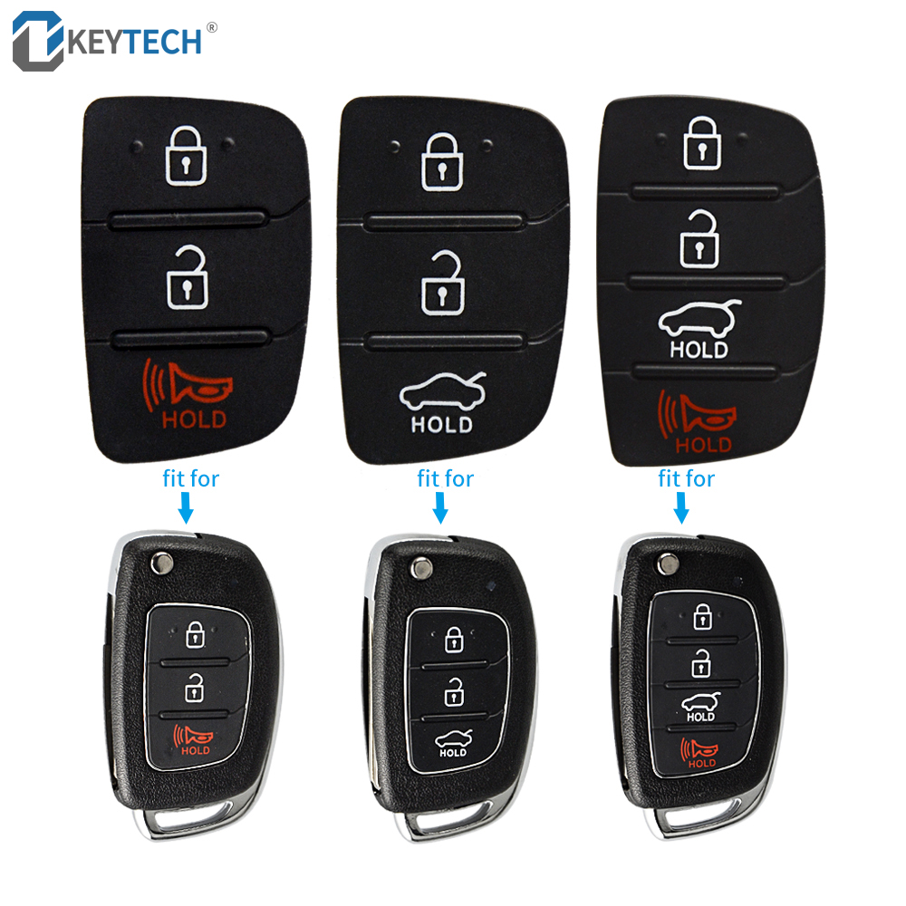 OkeyTech Rubber Key Button Pad For Mistra Hyundai HB20 SANTA FE IX35 IX45 3 4 Buttons Flip Folding Remote Car Key Shell Case