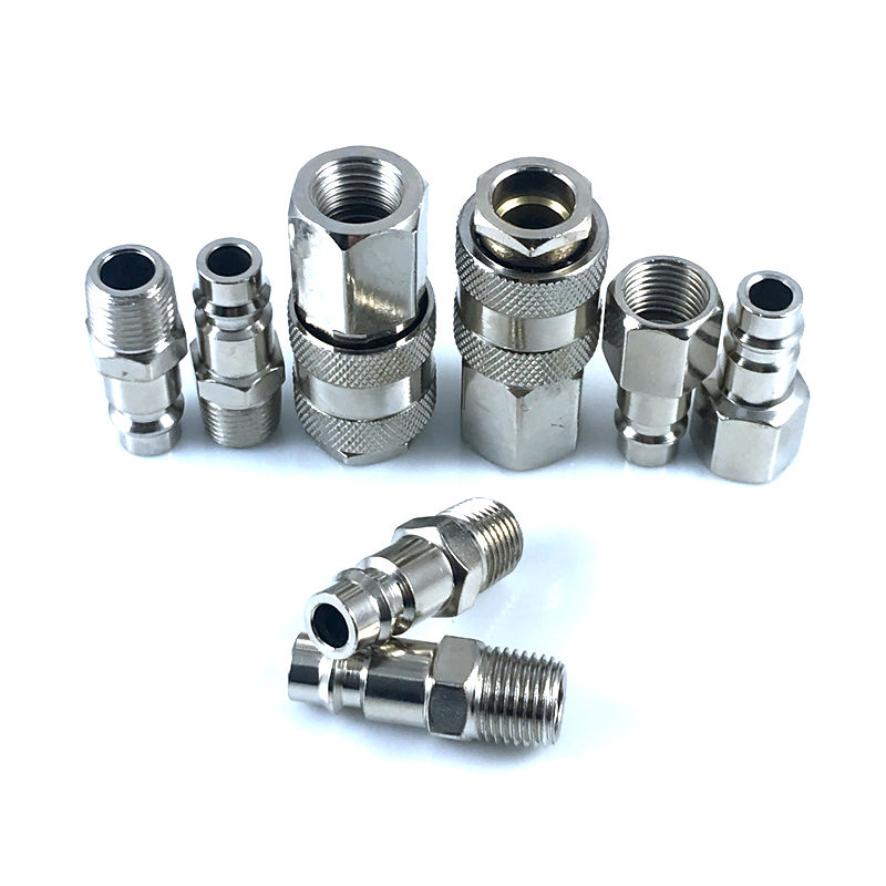 8pcs European Style 1/4''NPT Quick Coupling Male And Female Set Quick Connector Kit Quick Coupler Air Hose Pneumatic Fitting