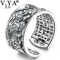 V.YA Solid 990 Sterling Silver Open Rings for Men Women Heart Sutra Homme Ring Thai Silver Jewelry Lovers Gift