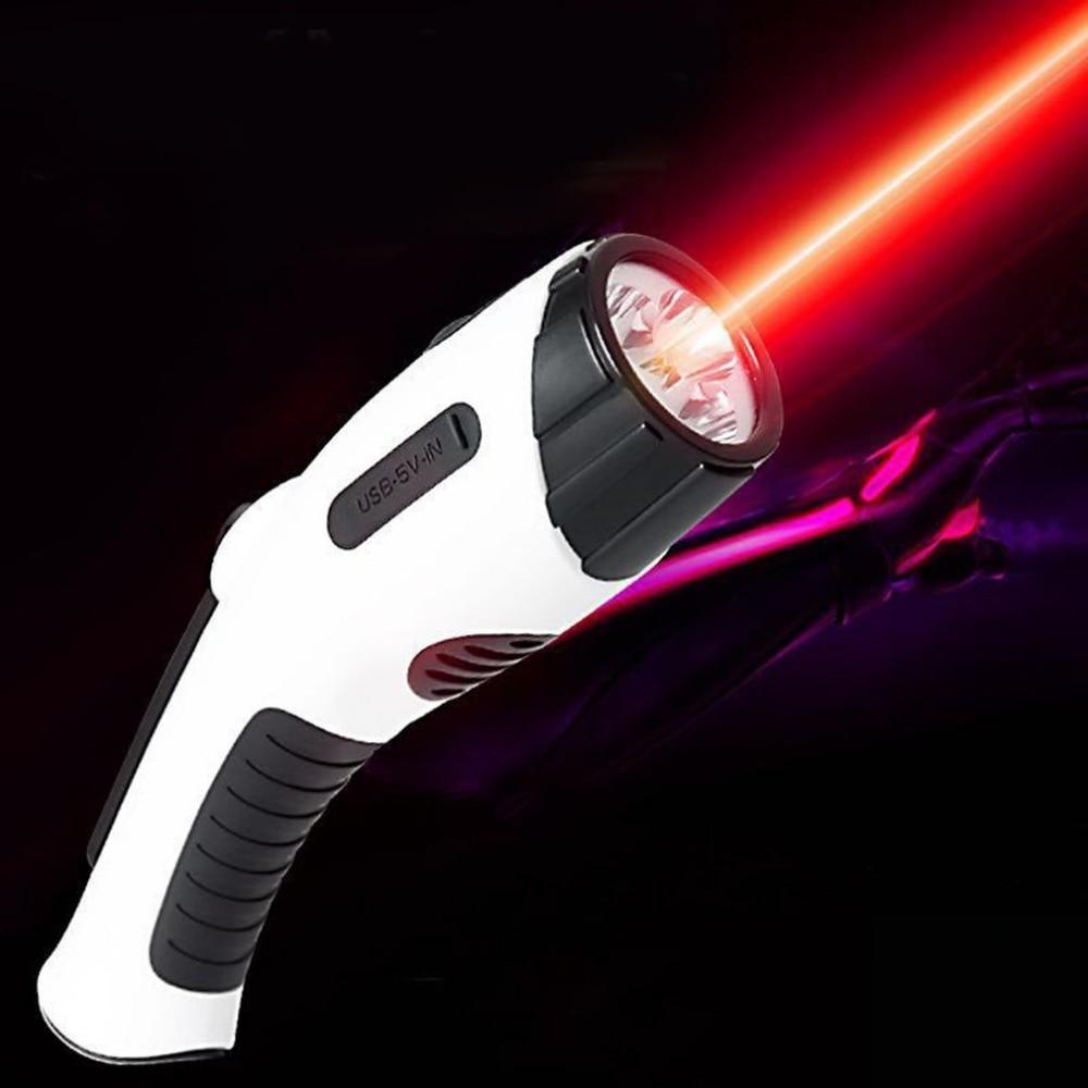 3 LED Multifunction Infrared Light Laser Flashlight Portable USB Hand Recharging Flash Light Power Bank FM Radio Outdoor Tools rd 310 1 3 lcd hand cranked dynamo 5 led flashlight w alarm function fm radio white grey