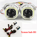 2.5inch Bi Xenon Mini Projector Lens with Square COB Angel Eyes +xenon bulb H1 Car Styling Automobile Headlights for H1 H4 H7