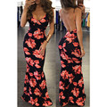 2016 women spagetti strap long dress sexy v neck sleeveless bodycon backless floral print womens casual maxi dresses MQ449