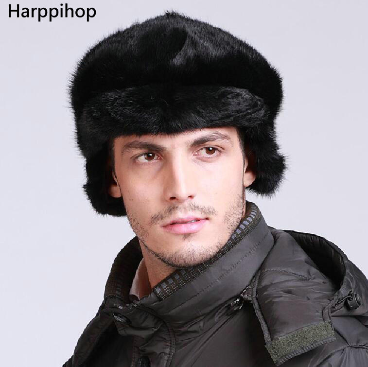 Harppihop Real fur mink fur Protect Ear fur man hat warm in winter freeshpping 2017 NEW