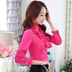 Image 2 - Высококачественная шифоновая блузка с длинным рукавом, элегантная женская рубашка с оборками, облегающая офисная блузка, Женская рабочая одежда, женские топы