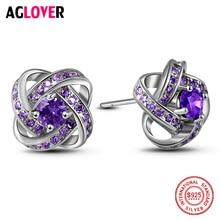 Crystal Earrings 925 Silver Charm Women 12mm 100% Sterling AAA Zircon Fashion Jewelry