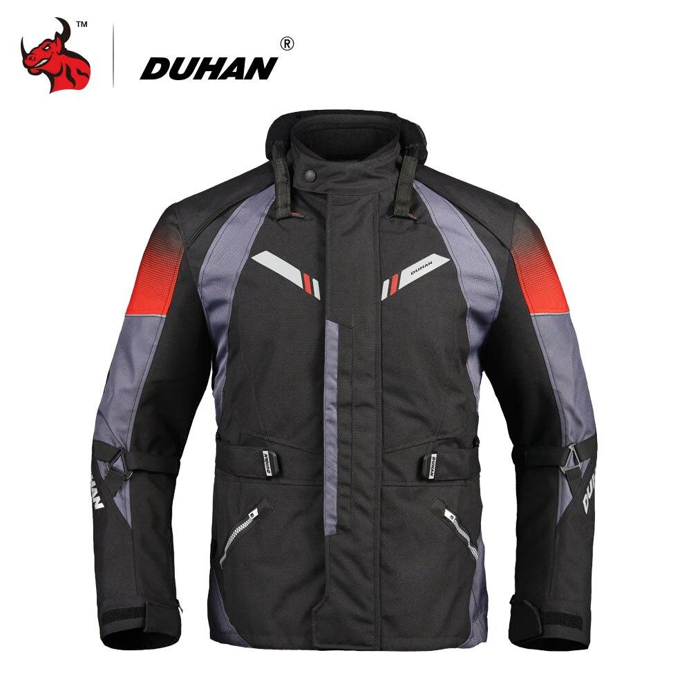 DUHAN Moto Veste Hommes Automne Hiver Touring Moto Veste Équipement De Protection Étanche Froid-preuve Moto Vêtements Noir