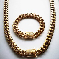 14mm Stainless Steel Luxury CZ Miami Cuban Chain Bracelets Hip Hop Men Curb Necklace Micro Pave Cubic Zircon Clasp Jewelery set