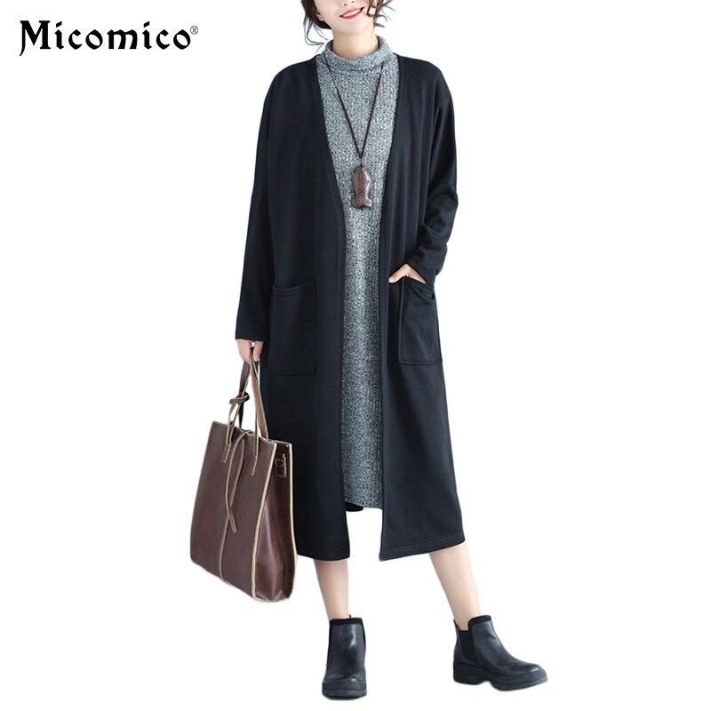 2018 Autumn Winter Cardigan Women Casual Long Sleeve Knitted Slim Outwear Sweater Pockets Knitwear Loose Sweater pull femme