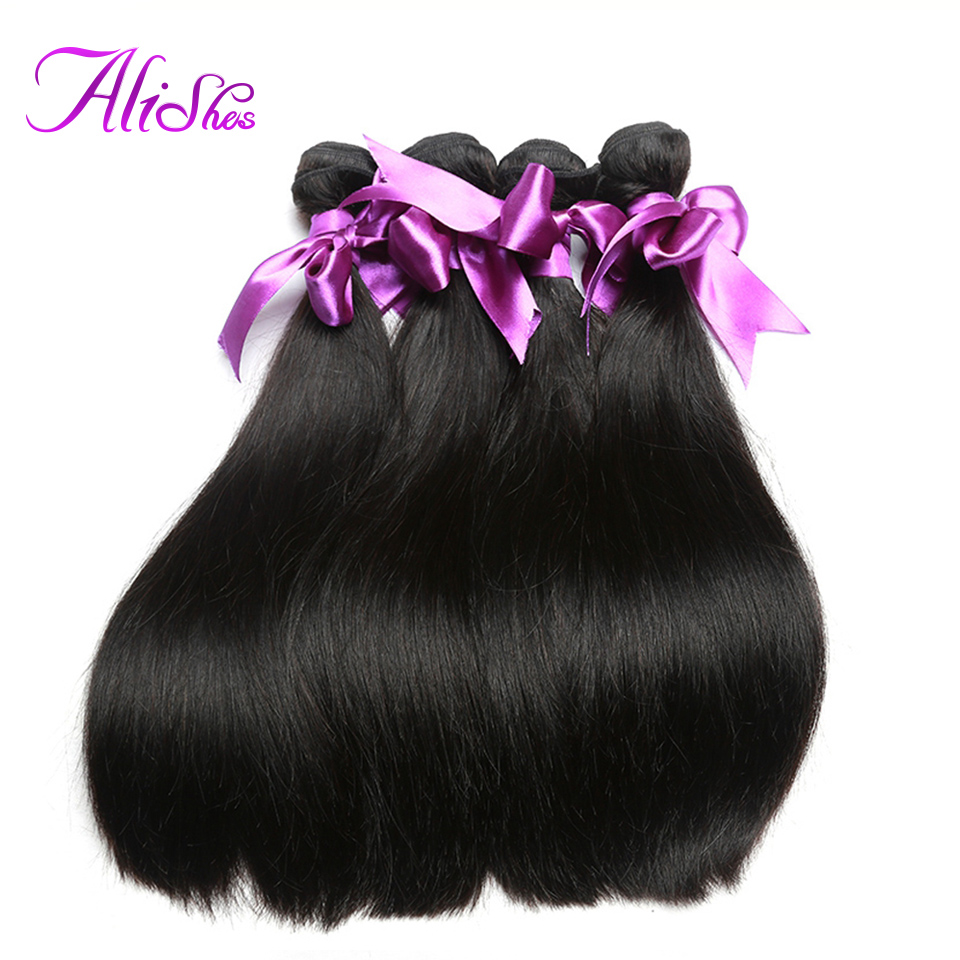 Alishes Peruvian Straight Hair 4PCS/LOT 100% Human Hair Bundles Deal Human Hair Weave Remy Hair Extension Natural Color
