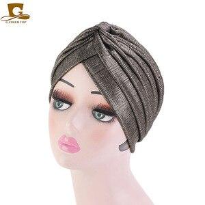 Image 4 - New fashion metallic ruffle turban Headwrap women headwear muslim hat Headwear Turbante Hijab Hair Accessories