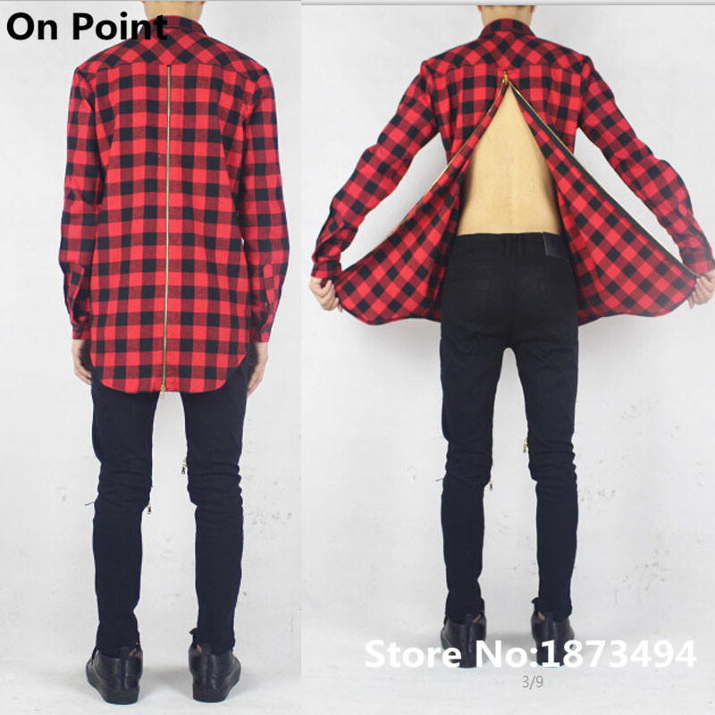 Long flannel shirt mens kamos t shirt for Red and white plaid shirt mens