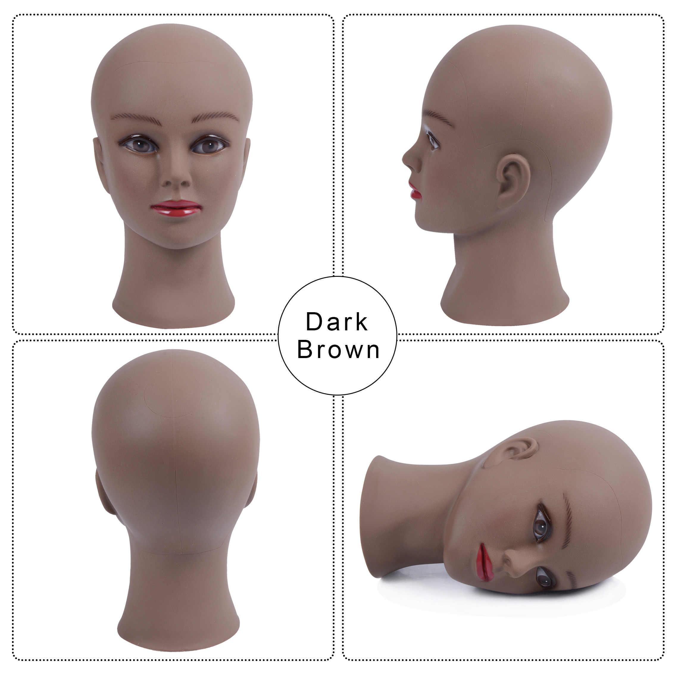 Calvo Mannequin Testa Con Morsetto Testa del Mannequin Femminile Per La Produzione di Parrucca Cappello Display Cosmetologia Manichino Testa Per La Pratica di Trucco