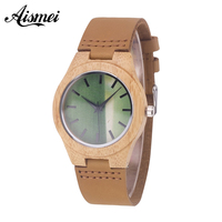 2017 Casual Luxury Brand Wood Retro Women Watches Vintage Leather Quartz Clock Woman Fashion Wooden Wristwatch