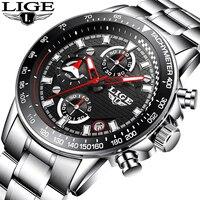 Luxury Brand LIGE Men S Full Steel Quartz Watches Men Military Waterproof Wrist Watch Man Fashion