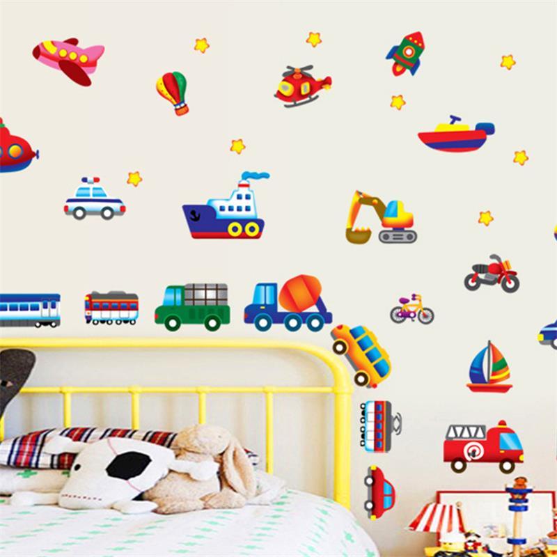 € 2.24 16% de réduction|Dessin animé voitures enfant chambre stickers  muraux pour enfants chambre garçon chambre stickers muraux fenêtre affiche  3D ...