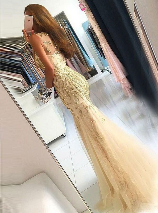 New Beautiful Mermaid Prom Dresses Beaded Sleeveless Tulle Women Elegant Evening Party Dress