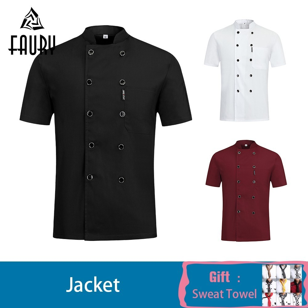Short-sleeved Chef Waiter Uniform Unisex Summer Kitchen Cooking Chef Jacket Restaurant Hotel Barber Work Shirt Free Scarf Gift