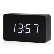 Best Wooden LED Digital Clock Alarm Clock Time Thermometer Calendar USB / AAA black and white/green/red