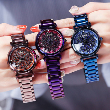 High  Top Quality Rotation Women Watches Lady Luxury Rhinestion Casual Quartz Watch Woman Stainless Steel Watch reloj mujer