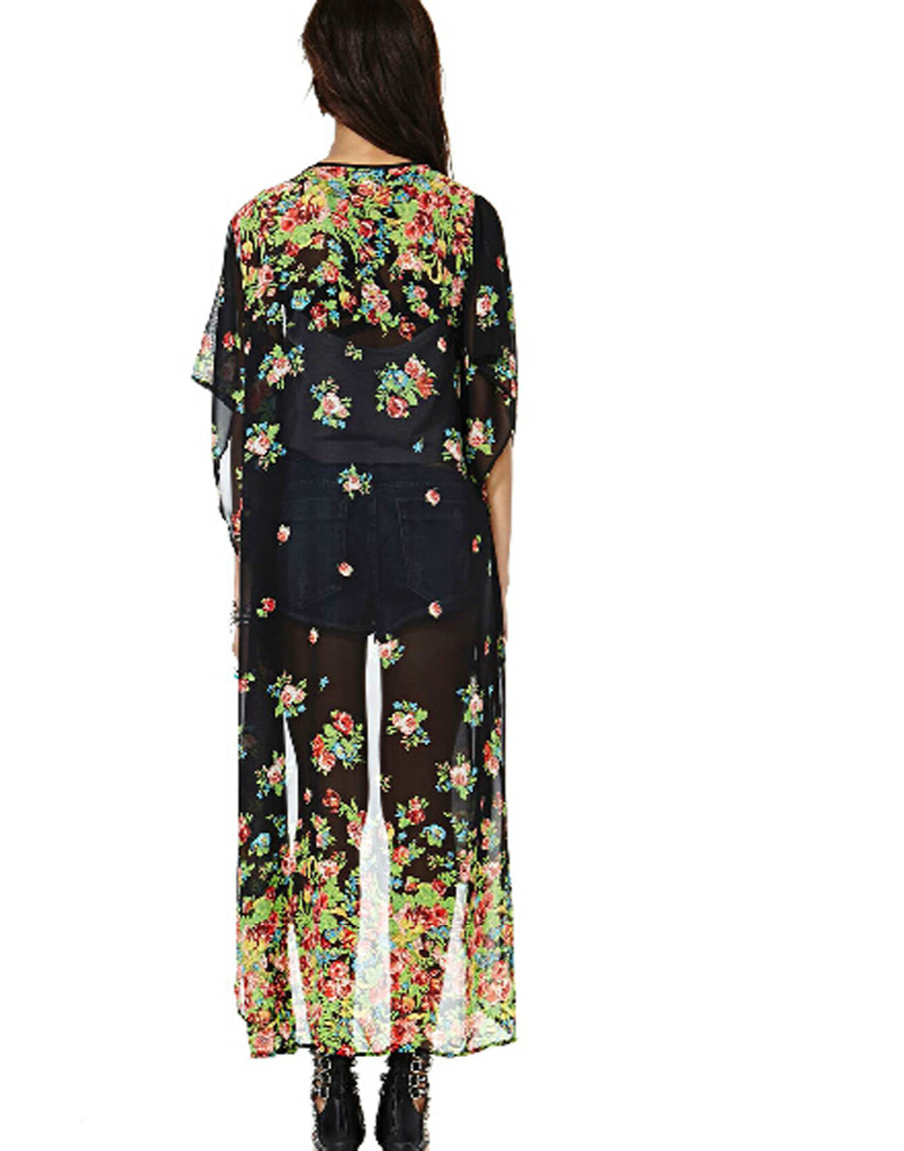 Superbaby Women Beach Sheer Boho Floral Long Kimono Cardigan Open ...