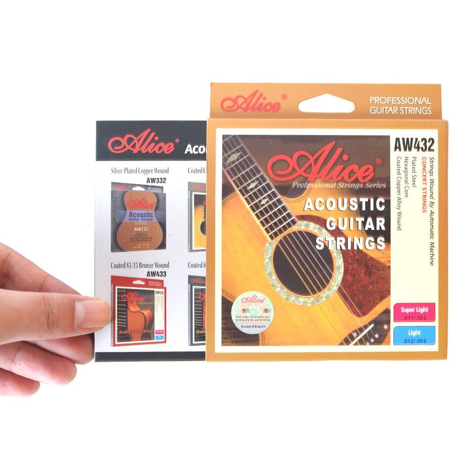 Nouvelle Alice AW432 1 Set Acoustique Guitare Cordes 011-052, 012-053 Lumière, Super Lumière D'alliage De Cuivre Plaies Anti-Rouille Guitarra Pièces