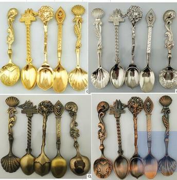 10218eebcd Nueva llegada 5 unids/set Vintage estilo real bronce tallado pequeñas  herramientas de café vajilla cubiertos cocina comedor herramientas