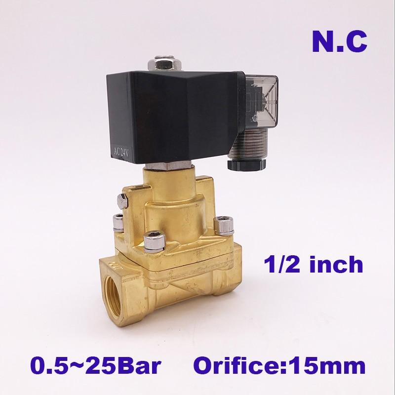 GOGO 25bar Brass high temperature 2 way water steam solenoid valve for hot water G1 2