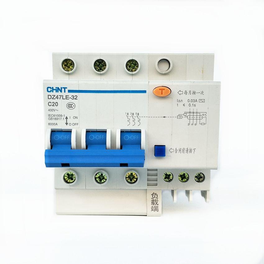 CHINT DZ47LE-63 3P 30mA 6A 10A 16A 20A 25A 30A 40A 50A 60A Residual current Circuit breaker RCBO chnt dz47le 2p 10a 16a 20a 25a 32a 40a 50a 60a residual current circuit breaker rcbo