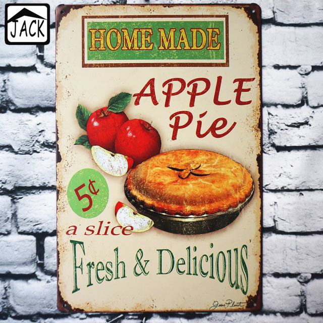 fresh delicious home made apple pie advertising vintage 2030cm metal tin sign supermarket - Periodic Table Tin Apple