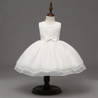 New Sleeveless Formal Newborn Dress Clothes Bow Pattern Infant Baptism Dresses Toddler Christening Birthday Prom 1