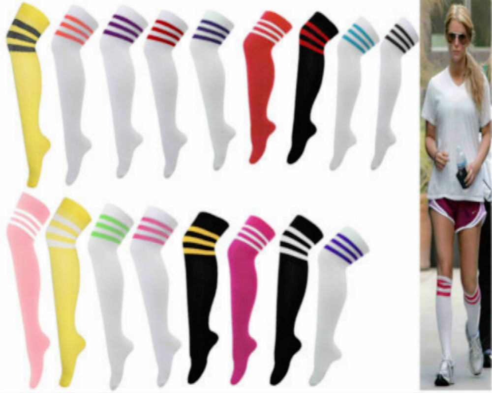 Men Women's Sport Football Soccer Stripe Long Socks Over Knee High Sock Baseball