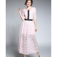 HANZANGL New Arrive 2018 Spring Summer Womens Elegant Floral Crochet Hollow Out Lace Dress Casual Party