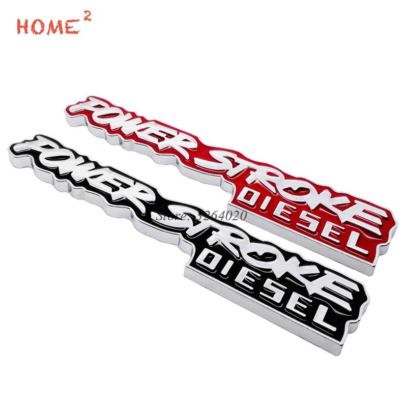 Car Styling Metal Rear Trunk Badge Sticker Auto Tail Emblem Decals for POWER STROKE Logo for Ford focus 2 3 fiesta mondeo Kuga