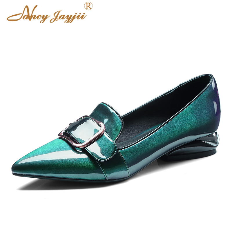Loafer Green Patent Leather Genuine Women Pumps