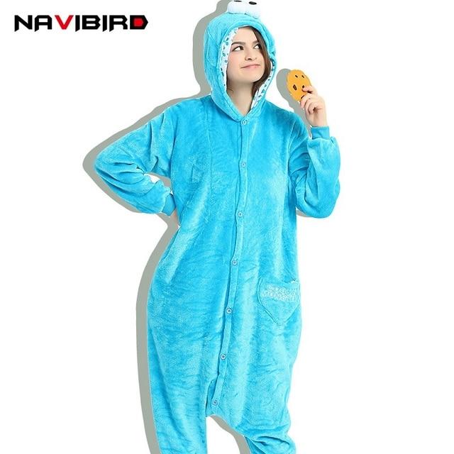 db393f4000d8 Winter Blue Cookie Monester Animal Onesie Women Flannel Overalls Kigurumi Onesies  For Adult Pajamas Anime Cartoon Hoodie Pijama