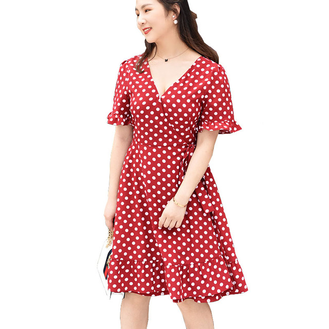 2fb230a7e62 New Arrival Women Red Polka Dot Dress Summer 2018 Sexy Chiffon Bowknot Back  V Neck Ruffles