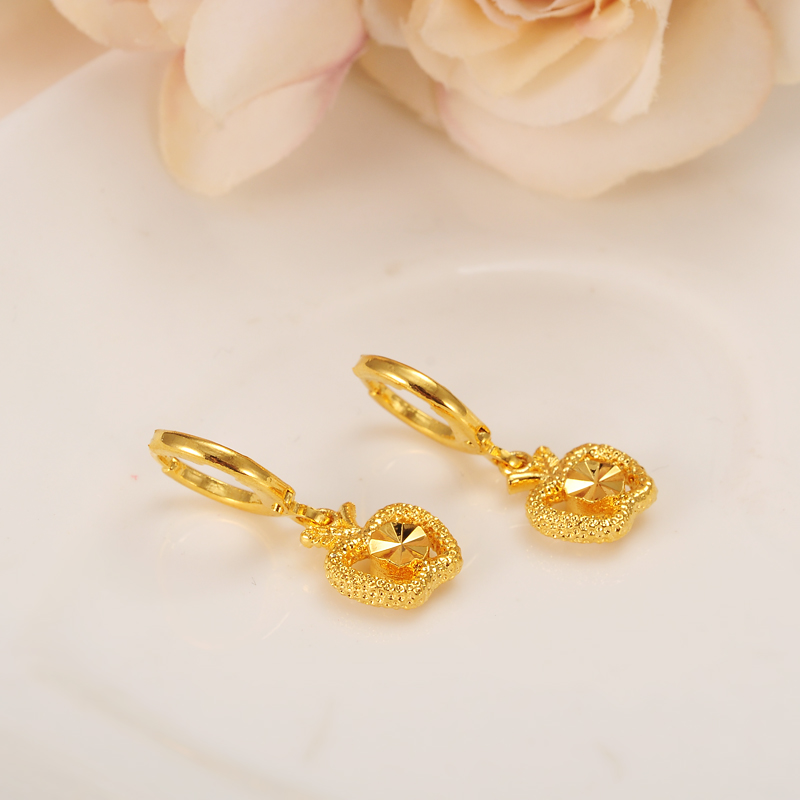 newest high quality Solid Gold Jewelry Fashion cute apple heart
