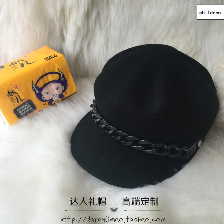 Children's classic European and American black chain octagonal cap restoring ancient ways men and women hat baseball cap cloth french polishing finishing and restoring using traditional techniques