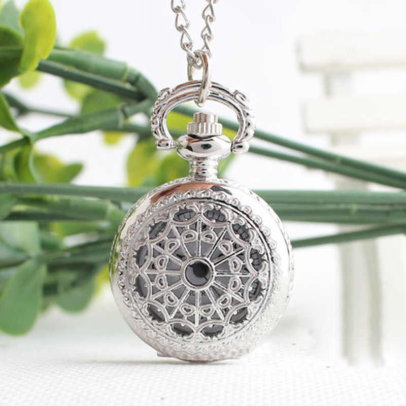 Retro Small Size Hollow Net Pattern Pendant  Chain Necklace Quartz Watches Spider Webs Pocket and Fob Watches Gift for Women SL