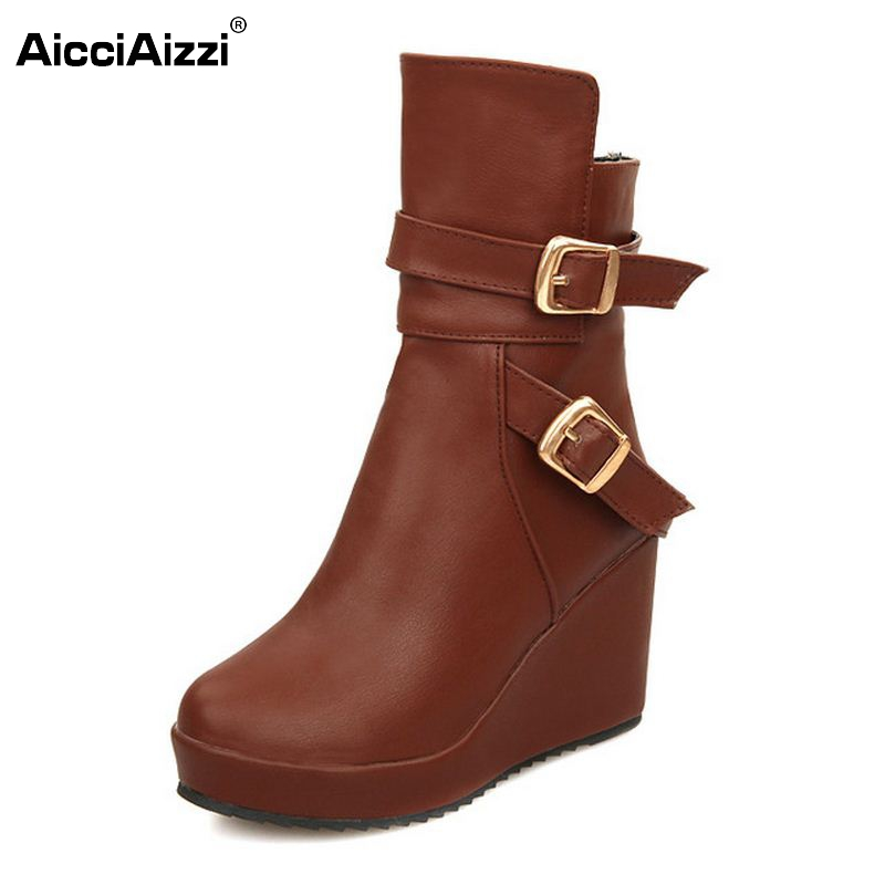 Punk Womens Gothic Buckle Straps Wedge High Heel Platform Creeper Round Toe Zip Side Ankle Boots Shoes Footwear Size34-39 t strap round toe women lolita wedge high heel shoes new 2017 side open japanese style wedges with buckle straps free shipping