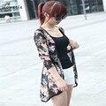 Woweile Primavera Raya de Las Mujeres de Moda de Verano Impresa Gasa Blusas Kimono Cardigan Jacket Coat Marca Diseñador Vestideo