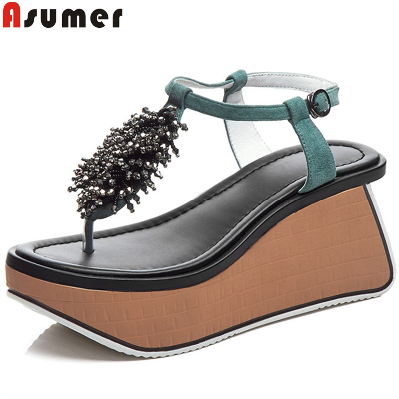ASUMER Shoes Platform Prom-Sandals Crystal Female Casual Wedges Suede