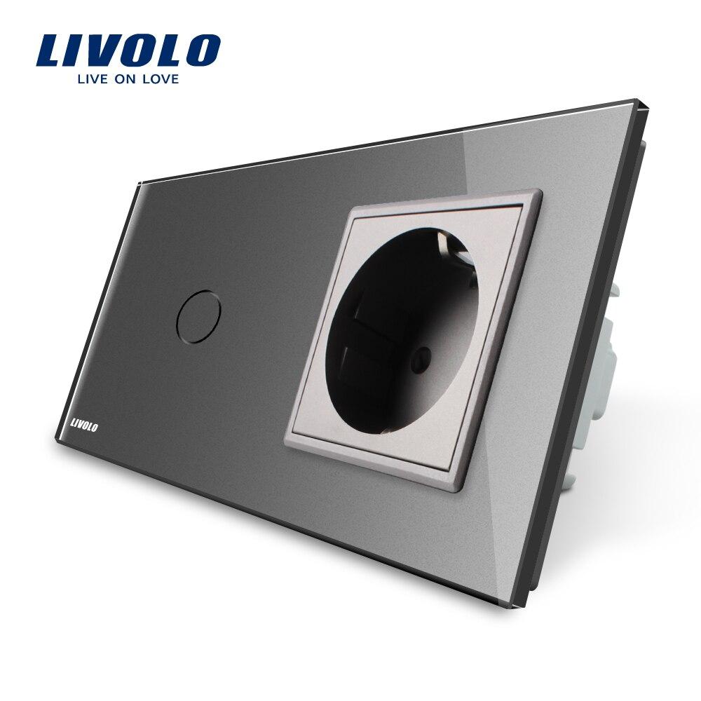 Interrupteur tactile standard Livolo EU, panneau en verre cristal gris, prise murale 110 ~ 250 V 16A avec interrupteur, VL-C701-15/VL-C7C1EU-15